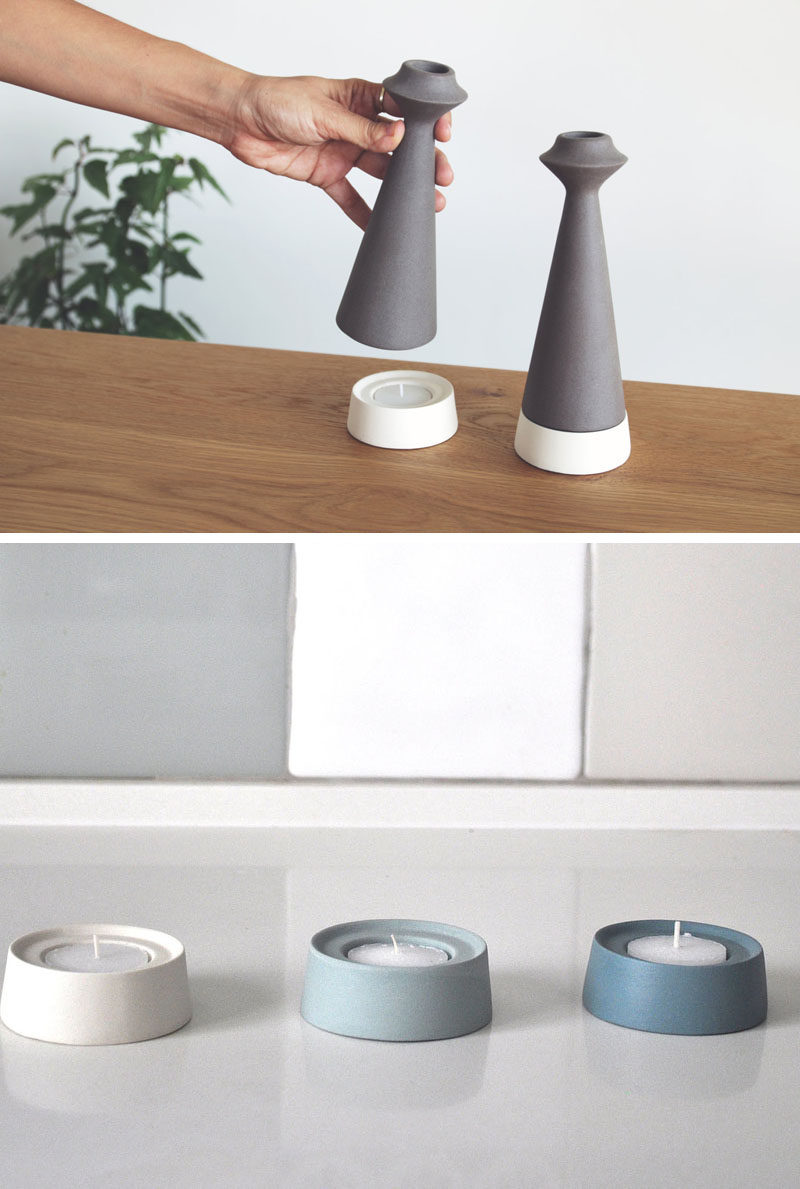 These candle holders are designed to be a two-in-one modular piece that can be used to hold taper candles on top and tea lights in the bottom.