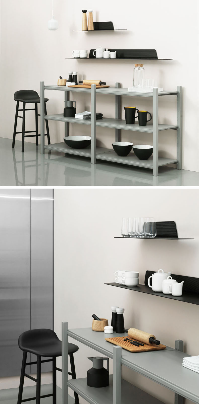 Jet, a thin, modern, minimalist shelf designed by Simon Legald for Normann Copenhagen, is a wall storage solution that combines horizontal and vertical lines to create a simple yet sturdy shelf with an industrial look that can be used to store and display objects of all sorts.
