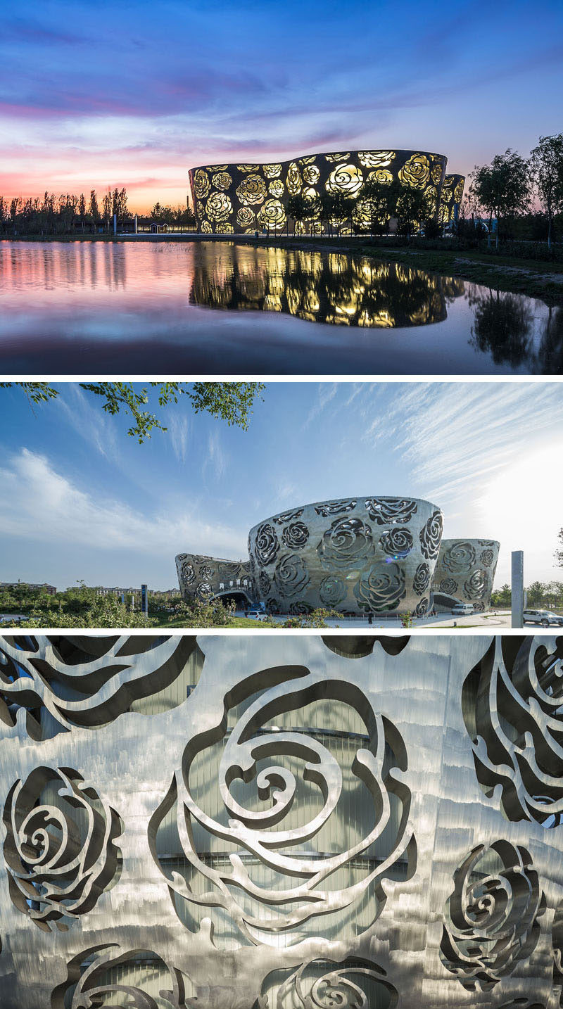The Rose Museum in Beijing, China, is a large structure covered in a thick layer of stainless steel with a rose-shaped pattern stamped all over the exterior.