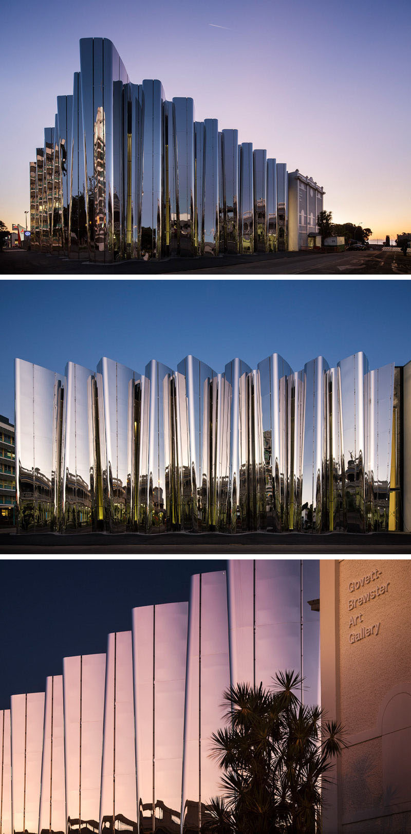 Curved, reflective stainless steel surrounds the exterior of the Len Lye Centre, a combined art museum with the Govett-Brewster Art Gallery in Taranaki, New Zealand, to create a unique visual experience without even stepping foot in the museum.