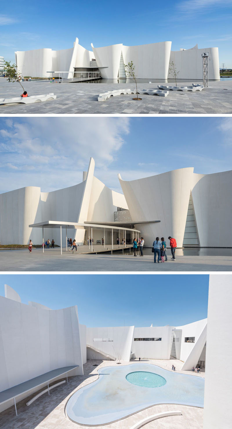 The curved concrete surrounding the exterior of the Baroque Museum in Mexico, was in part meant to represent the exaggerated movements often associated with traditional baroque art while creating a modern looking structure.