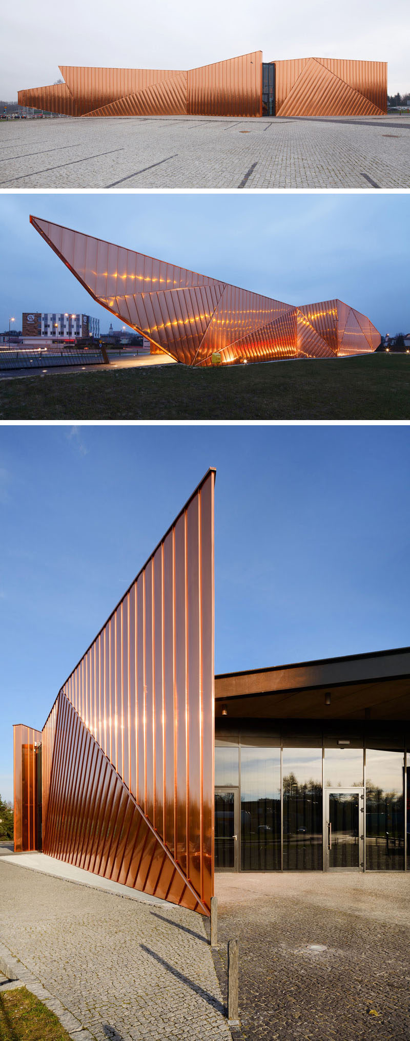Copper plates cover the exterior of the Museum of Fire in Zory, Poland, as a tribute to the fire that took out an entire forest and made way for the development of the Polish city.