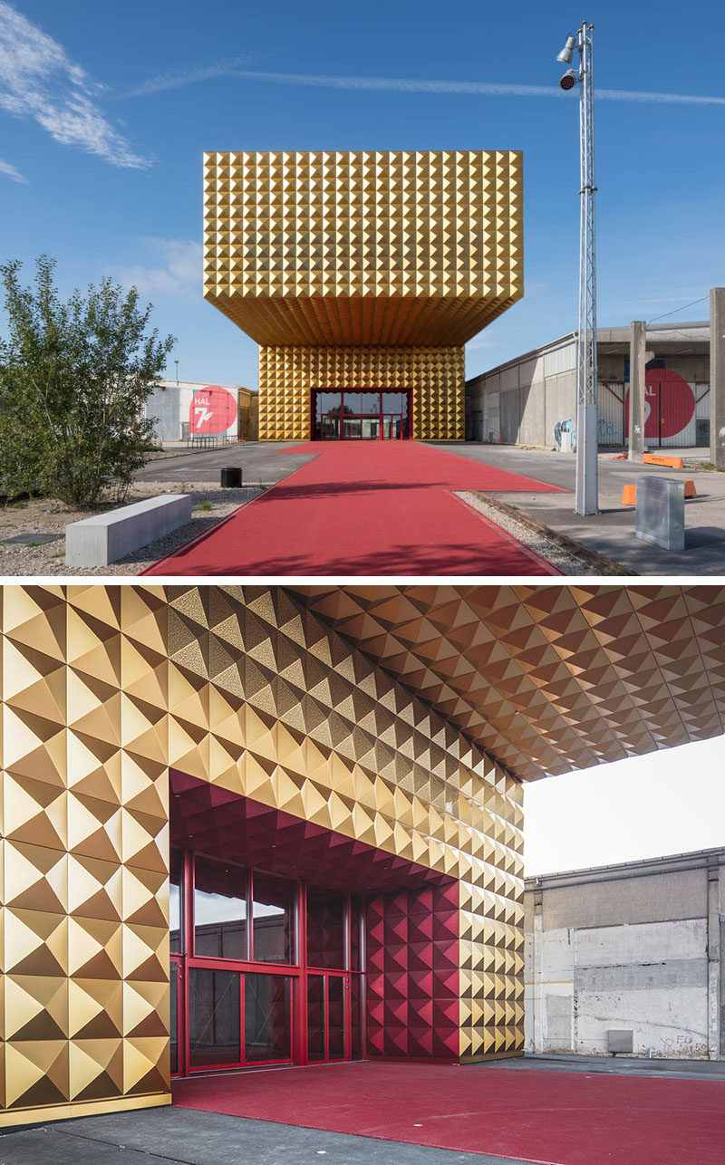 Golden anodized aluminum studs cover the exterior of the Museum of Rock in Roskilde, Denmark, as a tribute to the rock stars who often decked out their outfits in studs, while a red carpet entrance represents the red velvet inside a guitar case.