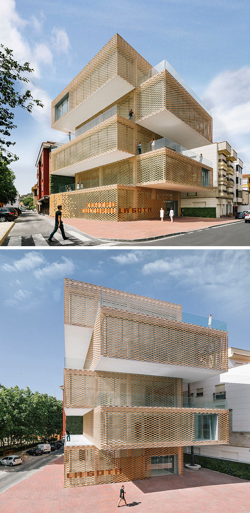 To represent the brick facades of the traditional brick builds that were used to dry tobacco, the exterior of the La Gota Cultural Center and Tobacco Museum in Navalmoral de la Mata, Spain, has been covered in a flexible ceramic that allows natural light into the building.