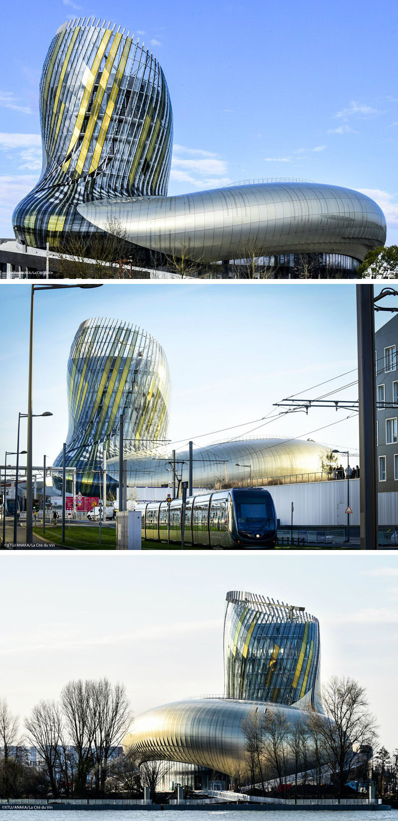 The wine museum and theme park, La Cite du Vin in Bordeaux, France, was given a swirl-like design on the bottom part to symbolize the swirling of wine in a glass, while the tower is meant to represent grapes growing on a vine.