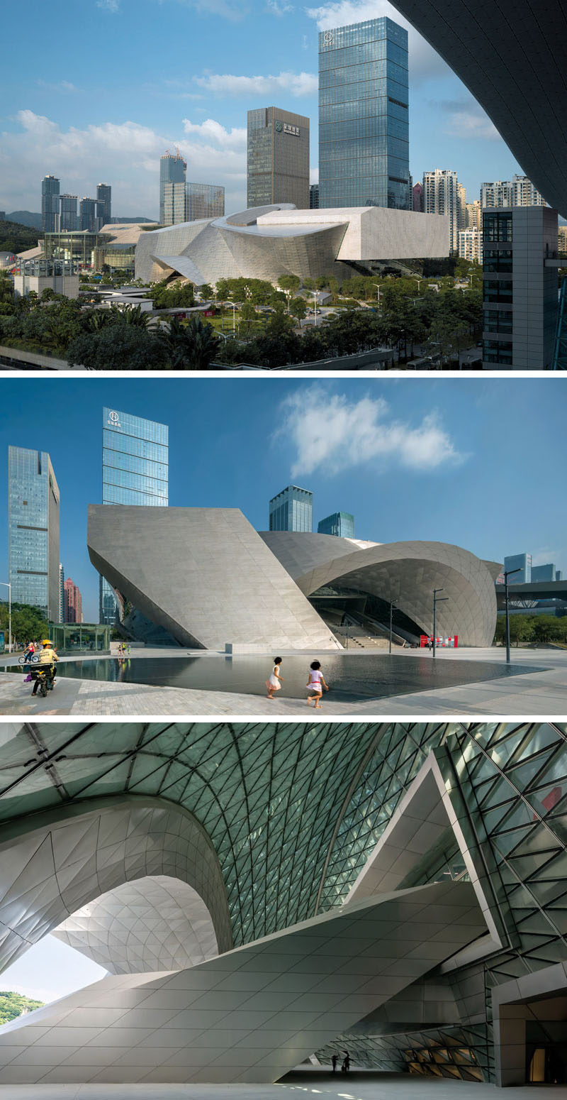 This massive building in Shezhen, China, is actual two separate structures, the Museum of Contemporary Art and The Planning Exhibition, that have been surrounded by a geometric facade made of natural stone louvers and insulated glass to create the look of a single modern building.
