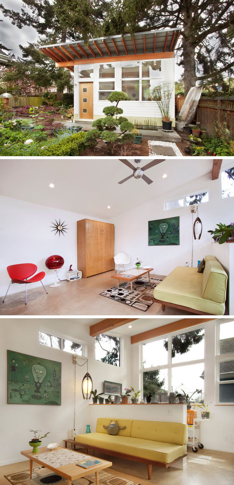 A modern backyard studio with a lounge and potting area for plants.
