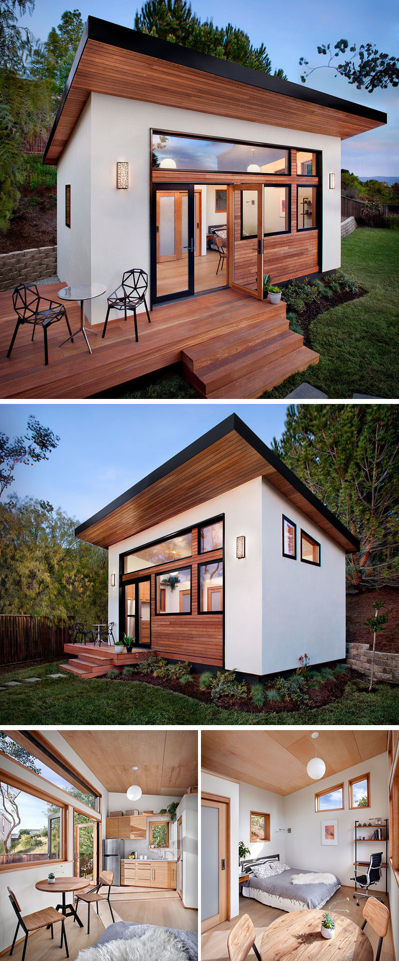 A small backyard guest house with a kitchen, bathroom, dining spot, sleeping area, and desk space.