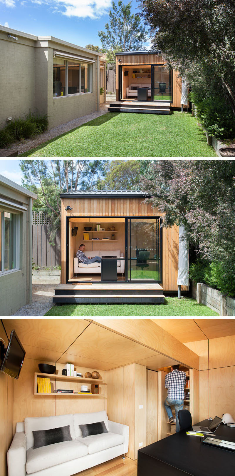 A small backyard studio accommodates a couch, a work space, and a lofted sleeping area.