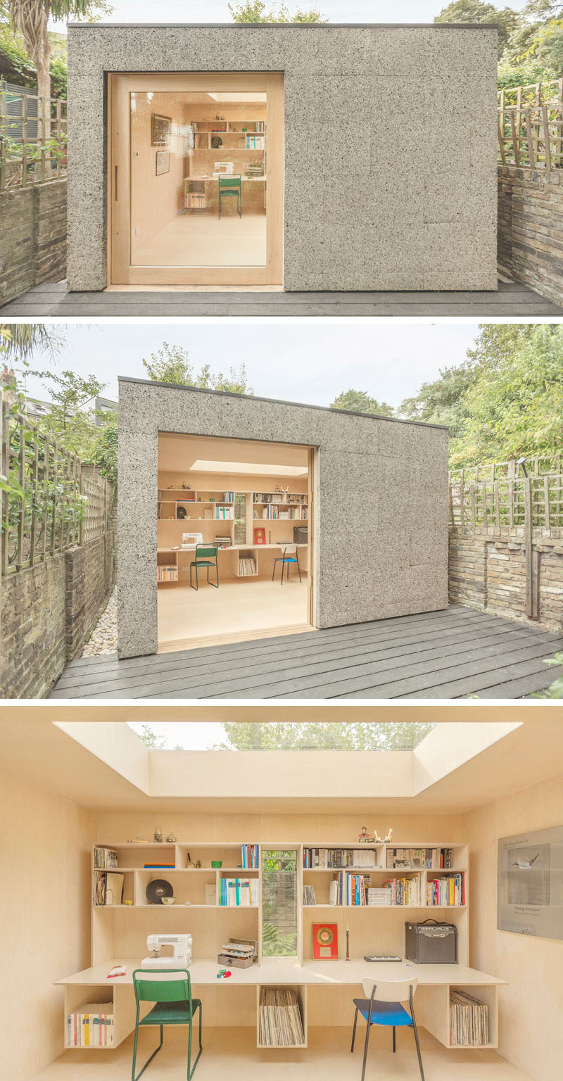 A backyard home office clad in cork.
