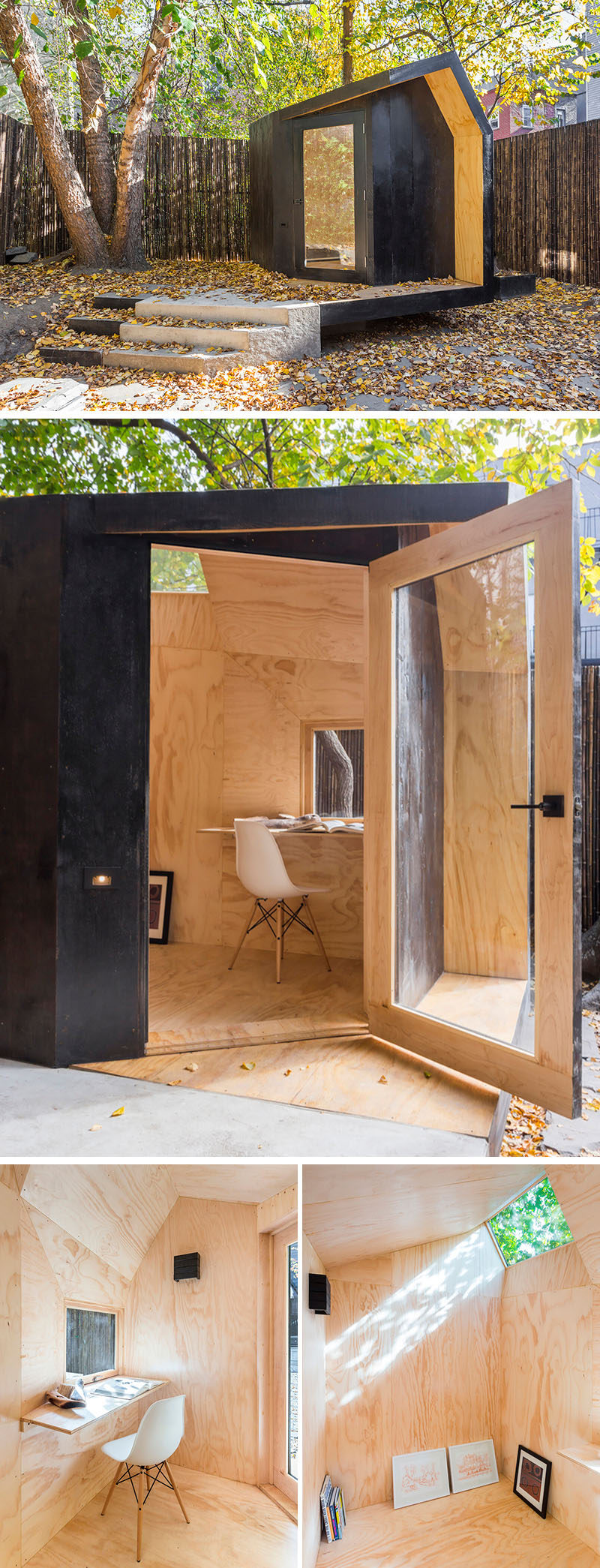 A small backyard home office with a black stained cedar exterior and and natural pine plywood interior.