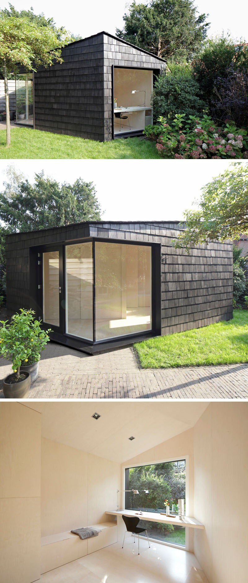 A backyard home office with dark stained shingles.