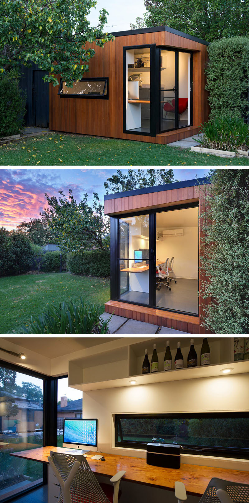 A prefab backyard home office is covered in wood and black trim surrounds the windows and sliding door.