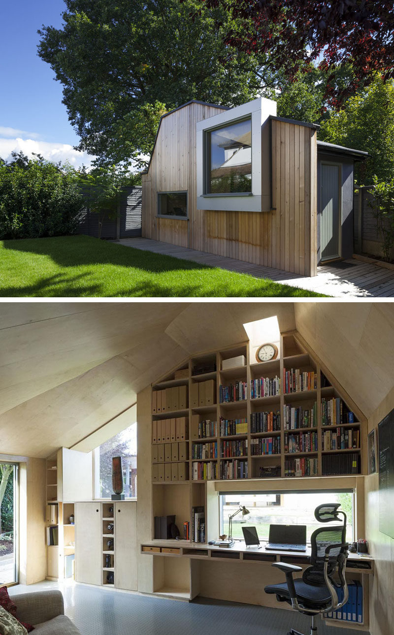 A modern backyard home office for a writer.