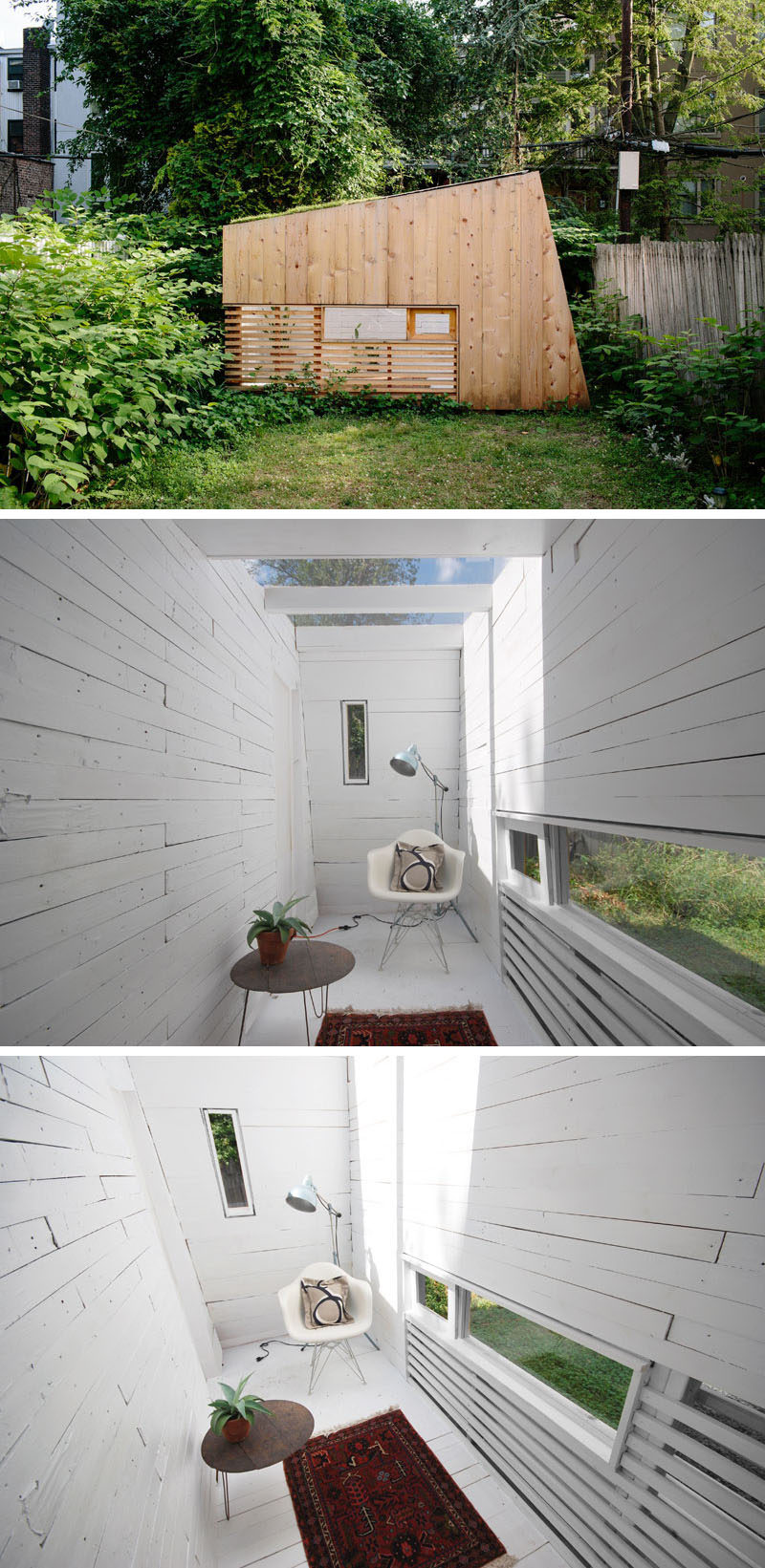 A small backyard studio features a  green roof and a skylight.