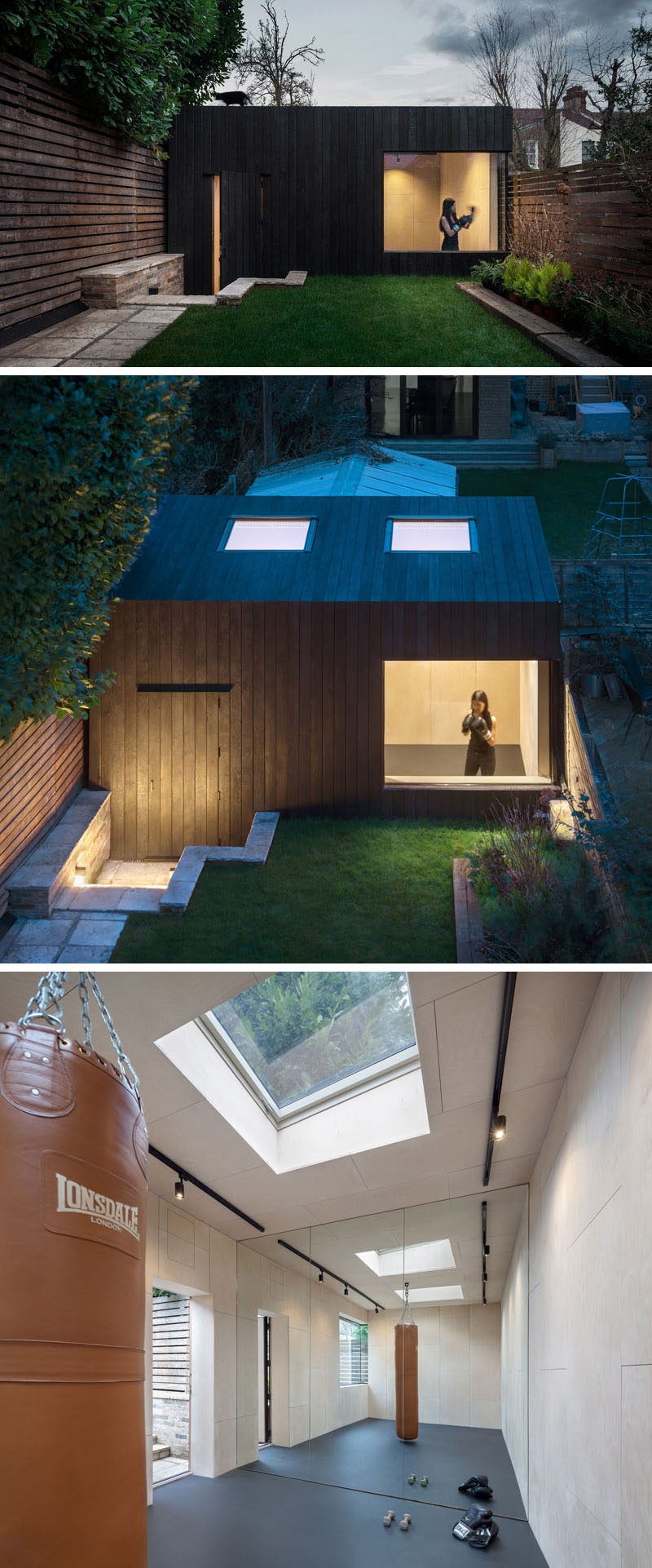 A backyard office and gym covered in charred cedar.