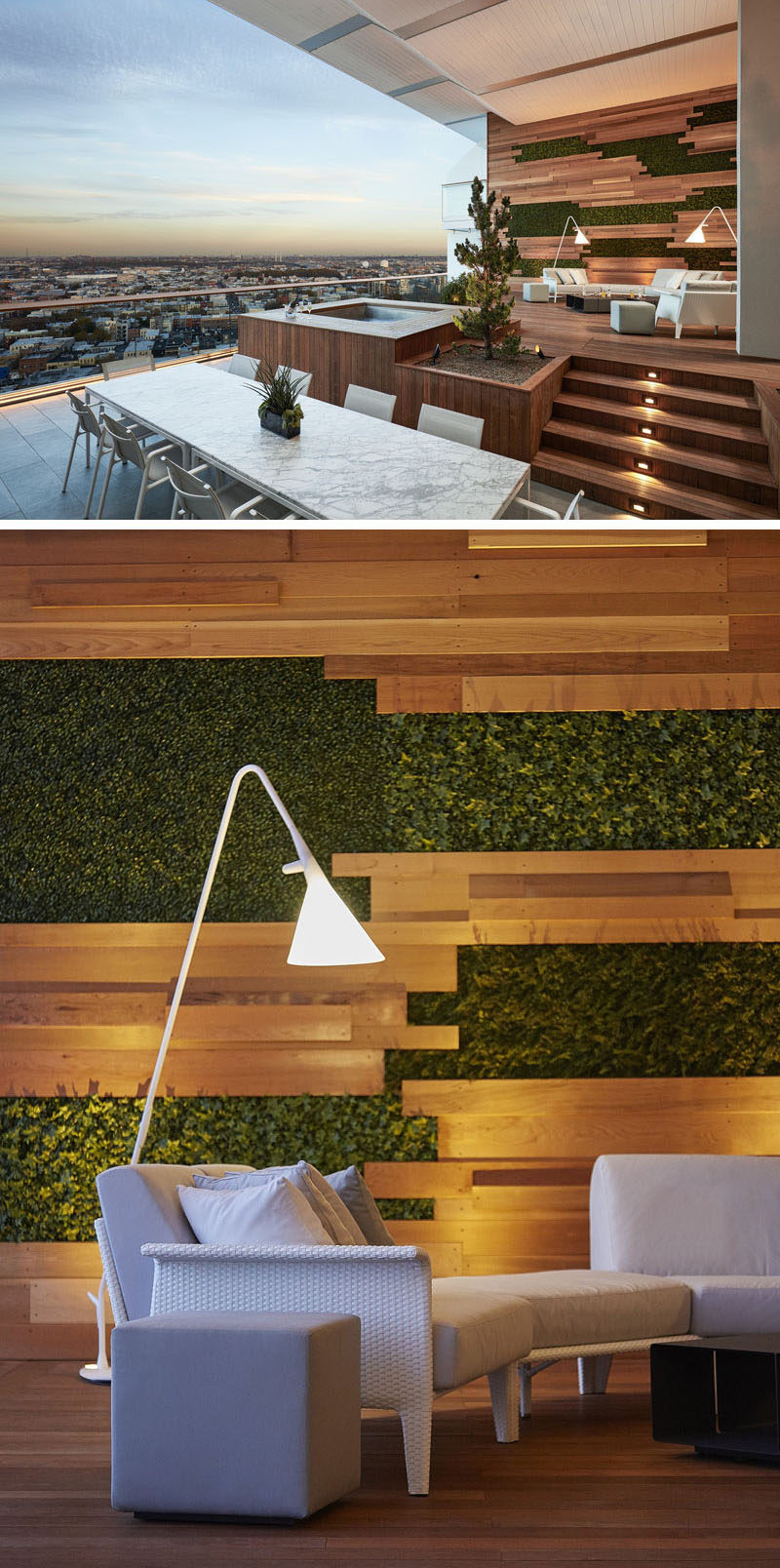 This large modern furnished balcony features an elevated seating area with a feature wall made from wood strips and patches of plants as well as an white and grey outdoor lounge with floor lamps.