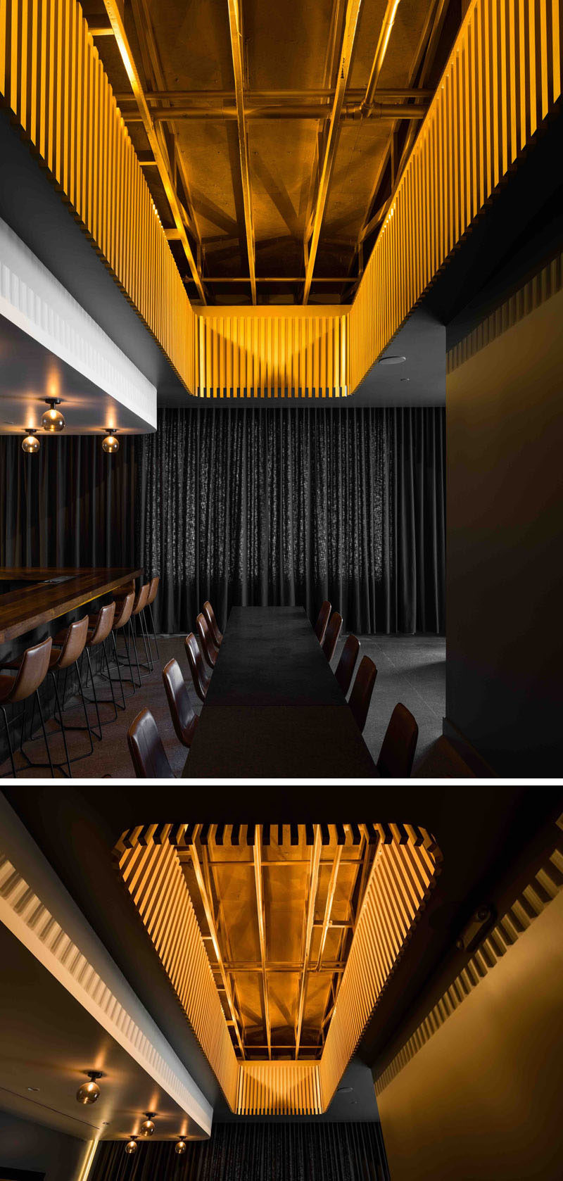 The focal point of this modern and luxurious cocktail bar is the gold painted trusses in a central void that acts like a chandelier centered above a large communal table.