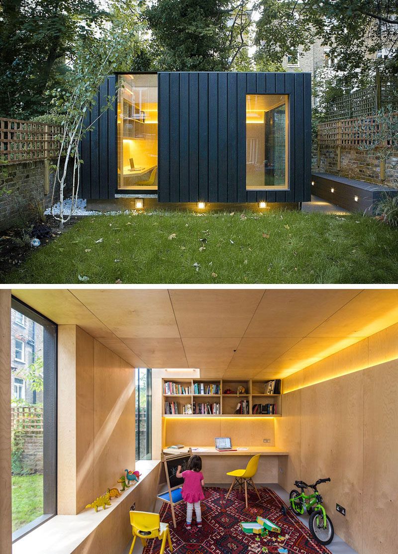 This charred cedar clad studio was added to the backyard of this London home to provide an office, a yoga studio, and a children's play area. #ModernStudio #BackyardGuestHouse #BackyardOffice #BackyardStudio #Architecture