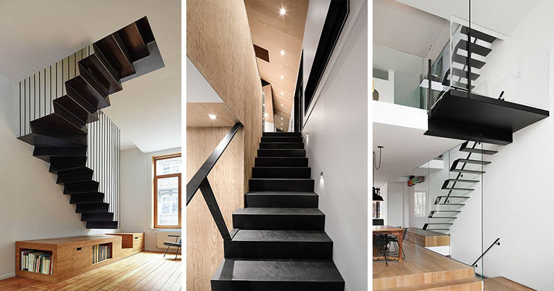 12 Black Stairs That Add A Sophisticated Touch To These Modern Homes