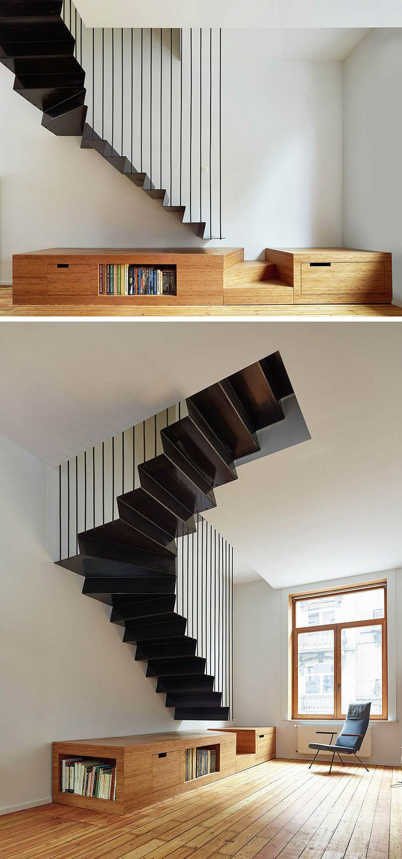 These suspended black steel stairs take up little space in the interior and add contrast to the white and wood palette.