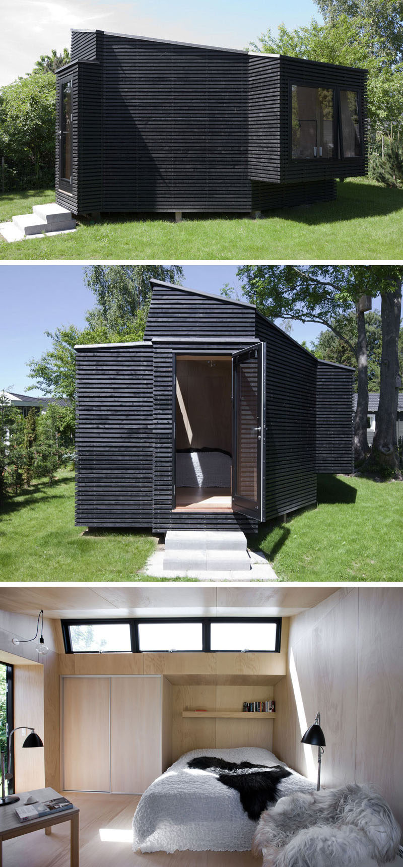 Clad in black timber, this backyard guest house has plenty of windows to keep it bright.