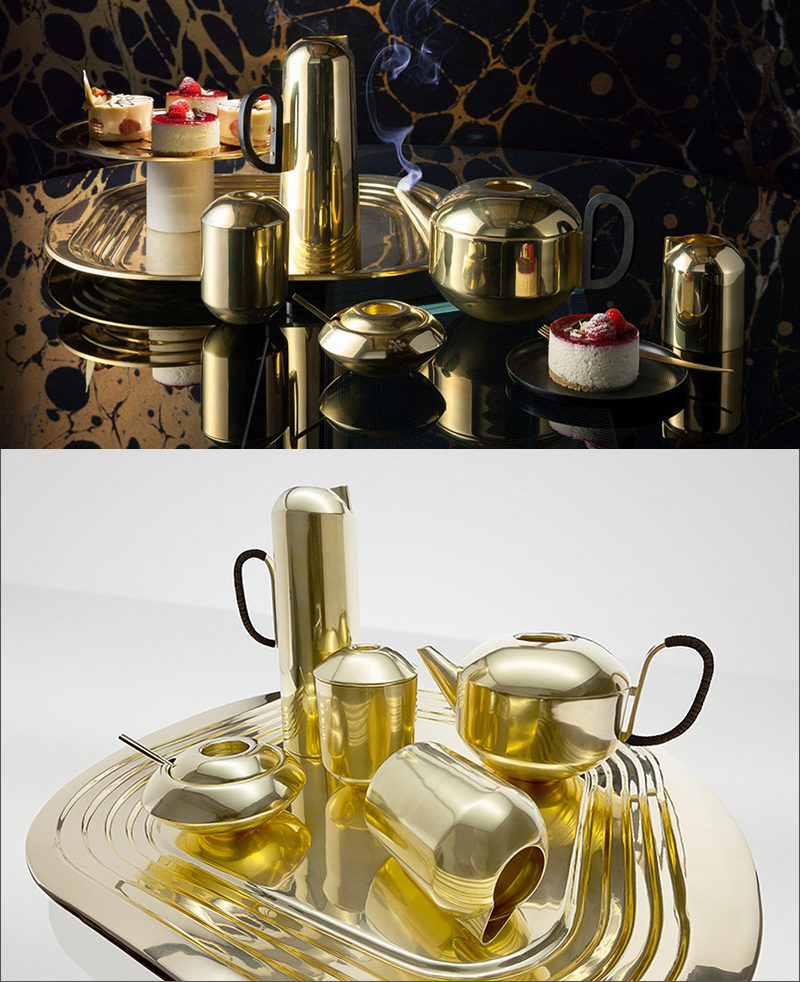 Take the sophistication of your tea party up to the next level with this elegant brass tea set.