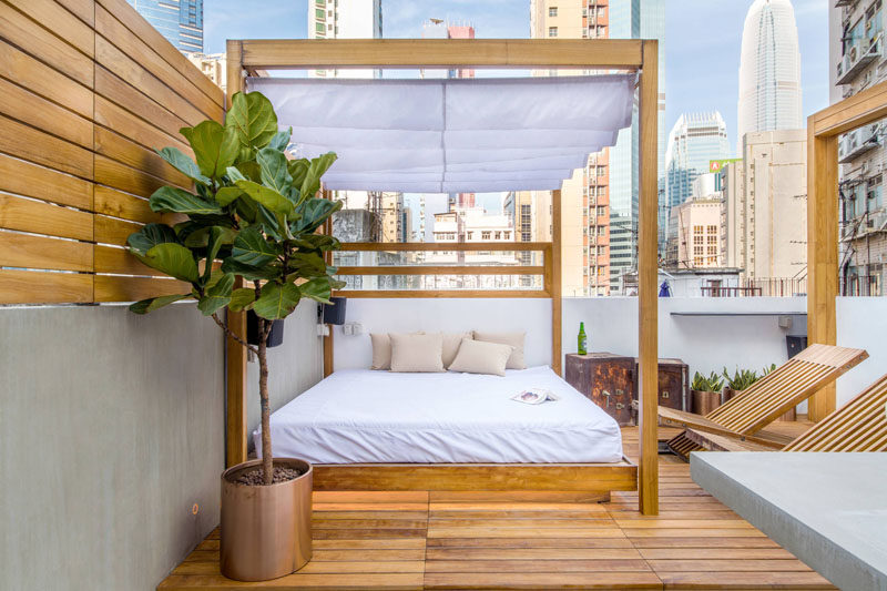 This rooftop bed has a shade curtain can be retracted on extra nice days to allow maximum sun exposure and closed at night or on rainy days so the bed can still be enjoyed.