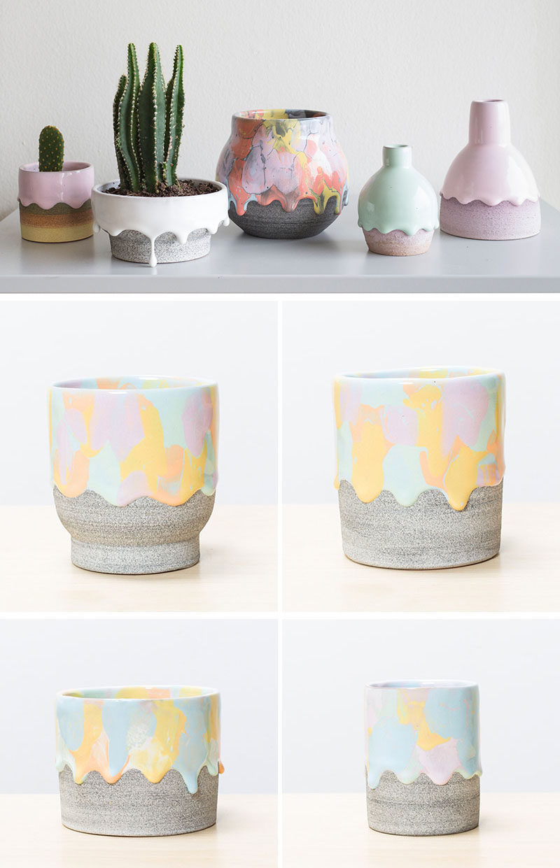 Made from earthenware clay and glazed with a drip finish, these modern and colorful ceramic home decor items can be used as vases, cups and bowls (they are food and drink safe), or even as a planter for your favorite cactus or succulent.