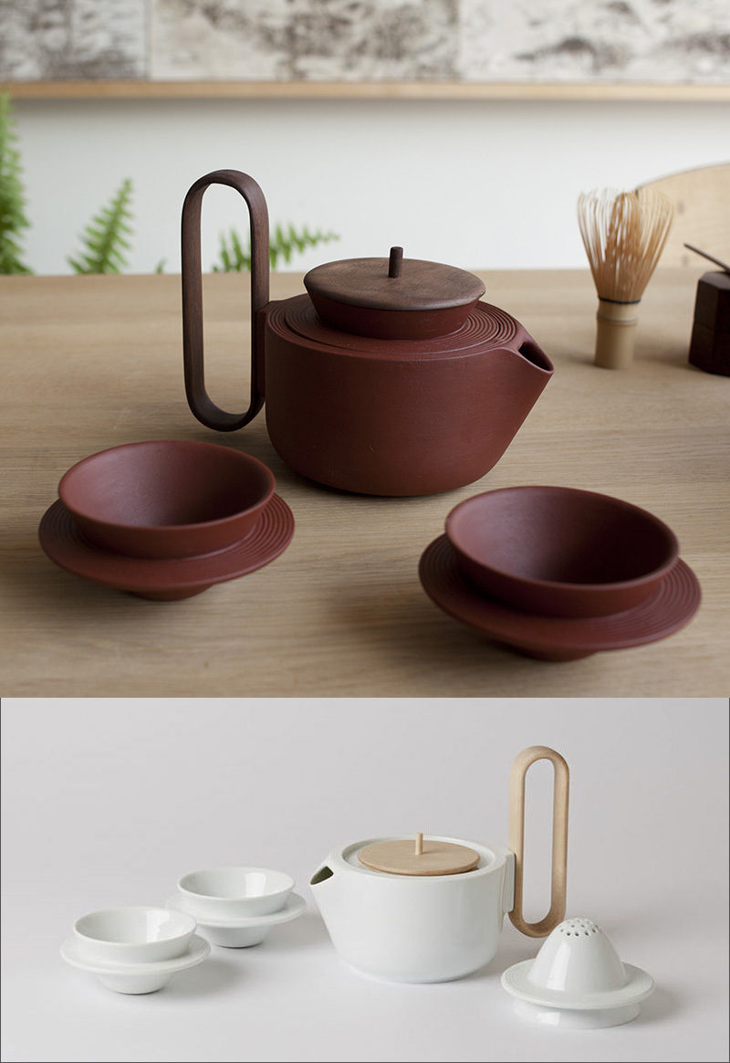 These ceramic tea sets, available in multiple colors, have tea cups with circular handles half way down the cup that wrap around it to create a unique way to hold them.