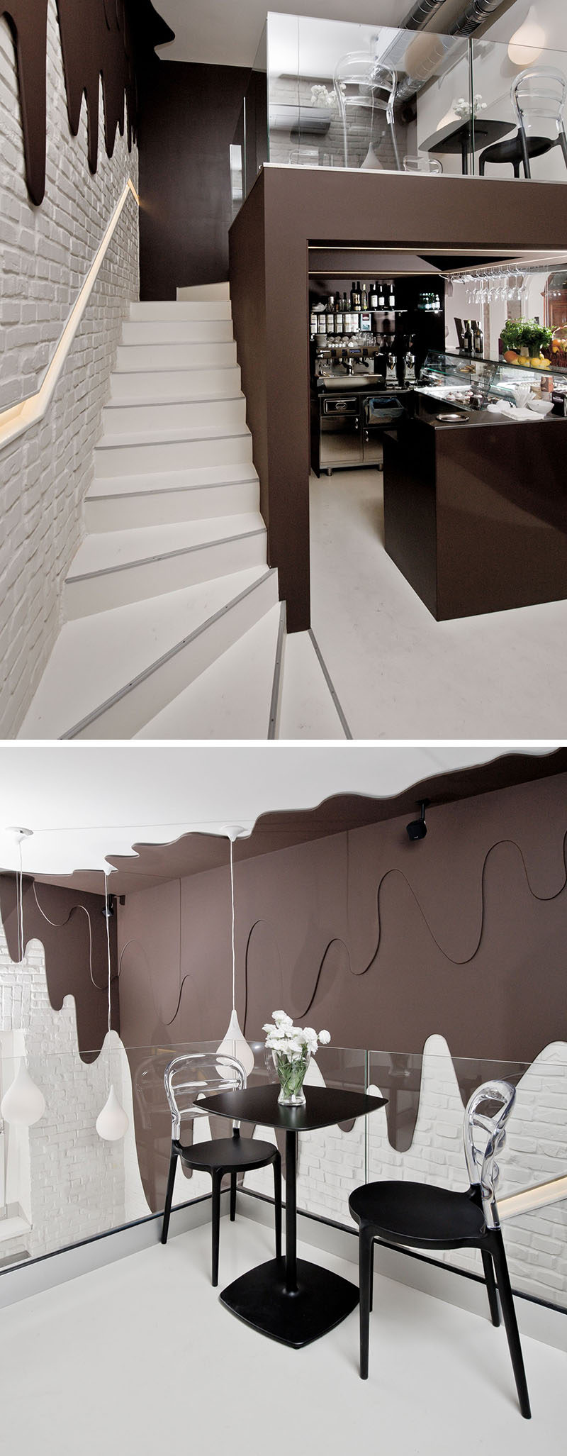 This modern chocolate shop and cafe design with two levels, has walls with 'dripping dark chocolate' and white pendant lights representing 'milk drops'.