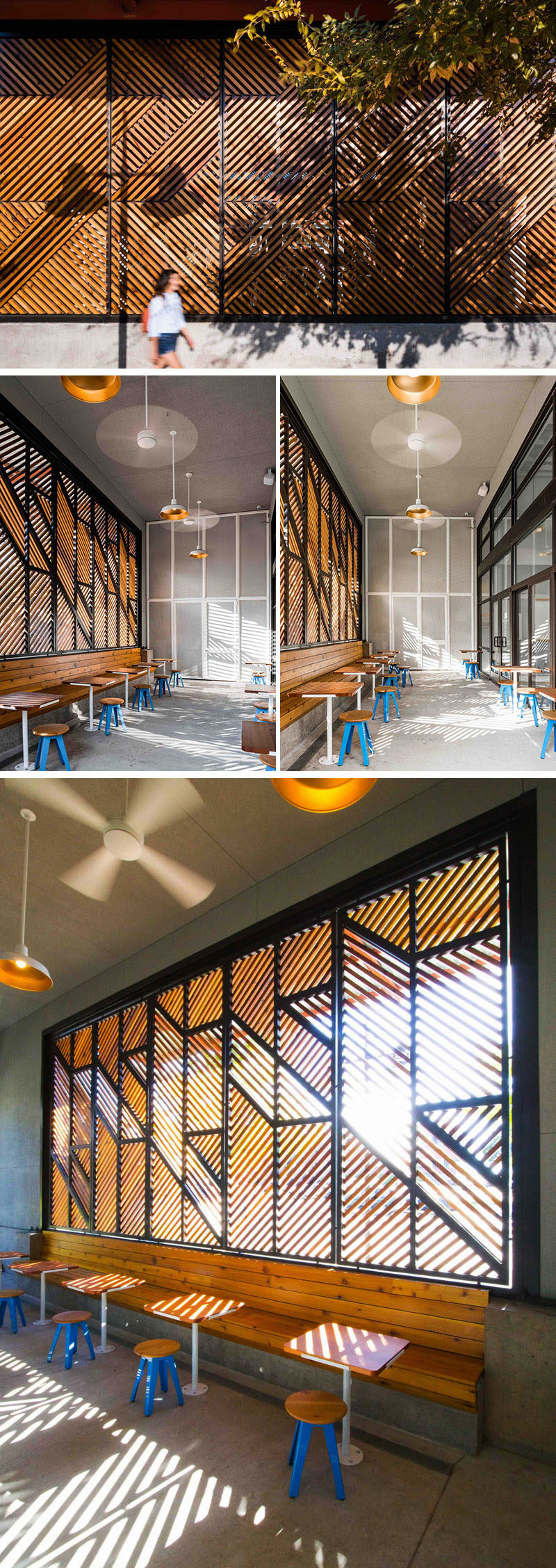 This modern coffee shop design has a houndstooth patterned cedar screen to create visual interest from the street and from within the enclosed patio. Inside the patio, sunlight is filtered through the pattern allowing for interesting shadows. The screen also shields guests from the street just outside.