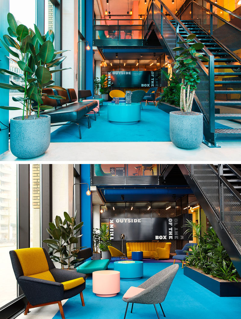 Bright colors welcome guests to this modern hotel and are found in bold shades throughout the interior. In the lobby modern furniture, blue carpets and yellow accents create a bright welcome and give visitors a taste of what they'll find throughout the rest of the hotel.