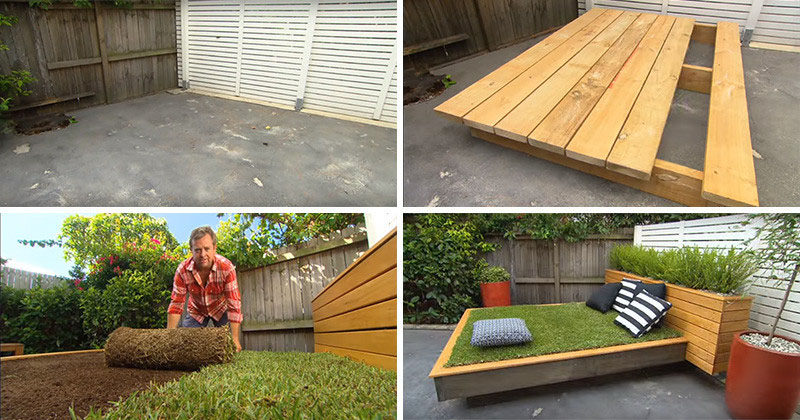 Have an extra bit of space in your backyard but don't want to rip up concrete to create a garden? Turn the spot into a grassy outdoor daybed just like this one.
