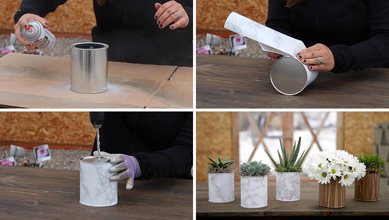 Create your own inexpensive and easy modern DIY planter or vase for your home decor by using a simple paint can, some contact paper, and a bit of spray paint.