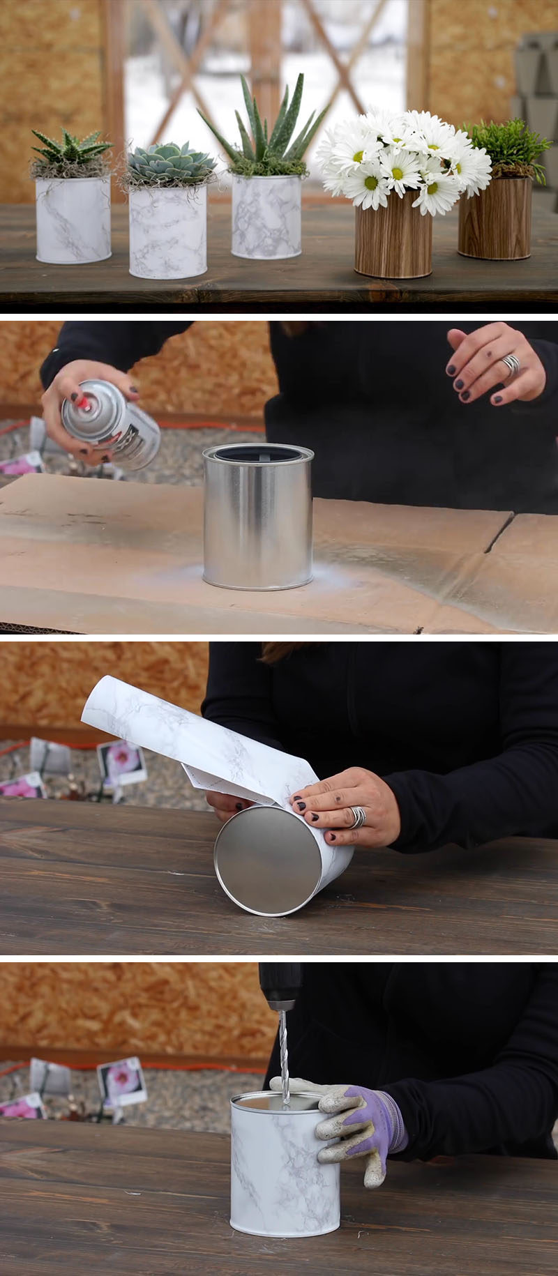 Easy Modern Diy Paint Can Planter Or Vase Contemporist