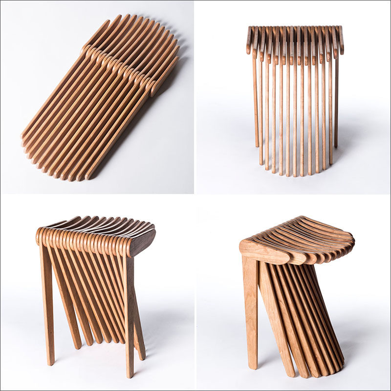 SWISH is a kinetic modern wood stool made from 27 thin wood elements that have  sc 1 st  Contemporist & This Stool Is Made From 27 Interlocking Wood Pieces | CONTEMPORIST islam-shia.org