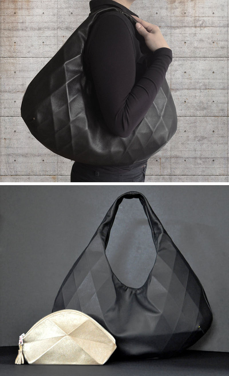 The Black Leather Hobo is an over the shoulder bag that features a subtle geometric design on one side while the other side is completely smooth. An internal pouch pocket and magnetic snap closure gives the bag security and extra storage making it the perfect every day bag.