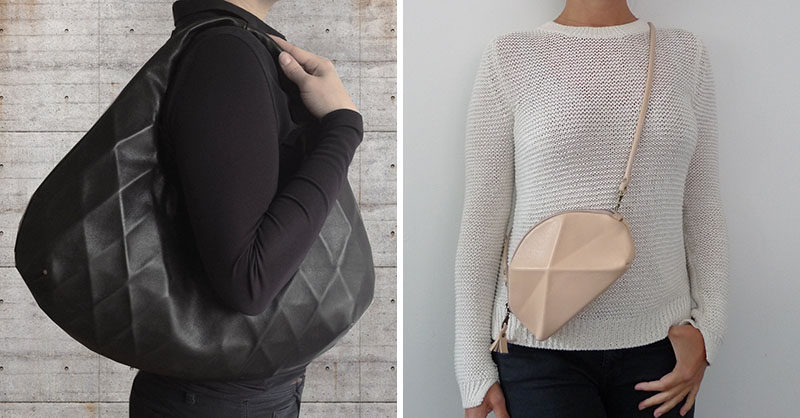 Lara Kasiz has a collection of elegant and modern handbags, shoulder bags and clutches, that all have simple geometric designs.