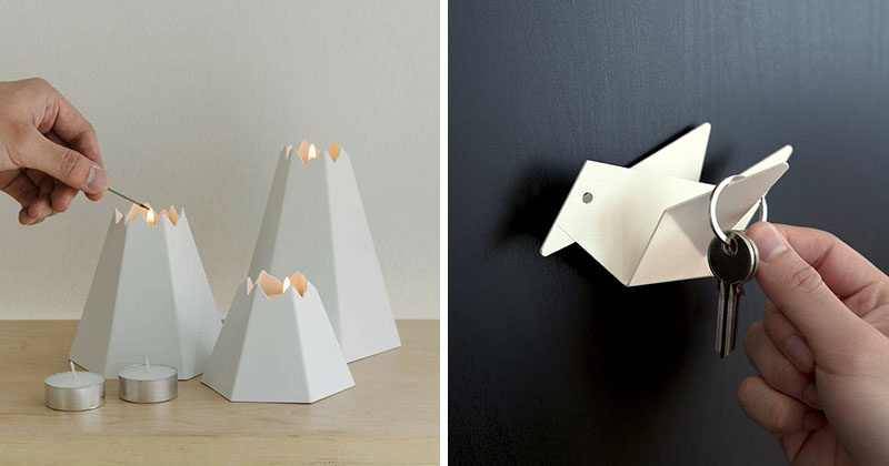 Inspired by origami, the Japanese art of paper folding, Moreoverdesign has created a collection of home decor items that feature clean lines and simple design. By artfully folding sheets of metal, pieces like the Easy Bird wall hook and envelope holder, and the volcano candle holder and vase come to life.