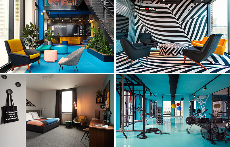 The Student Hotel in Eindhoven, The Netherlands, is a place for hotel guests to relax in a modern and colorful environment, but also has a restaurant and bar, a lecture space and work areas.