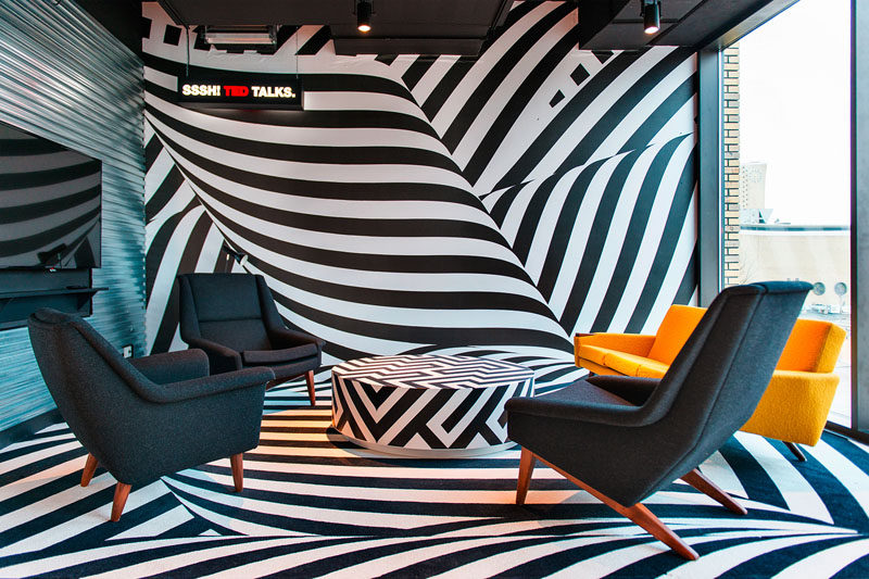 In this modern hotel, there's a meeting room that's more like a life sized black and white optical illusion.