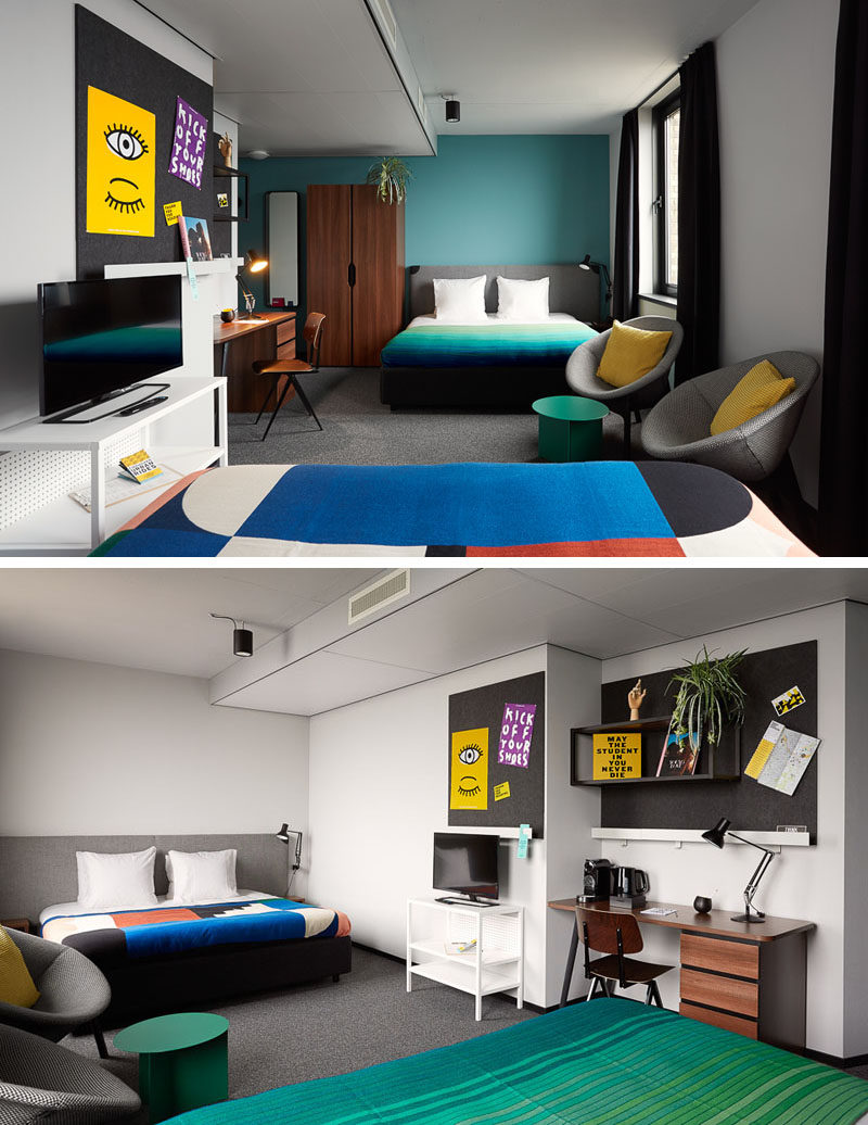 This modern hotel room includes items like a desk, a TV, a wardrobe, felt bulletin boards, comfortable beds, modern chairs and side tables, and built-in shelving to ensure you have enough space to live comfortably during your stay, however long or short it may be.