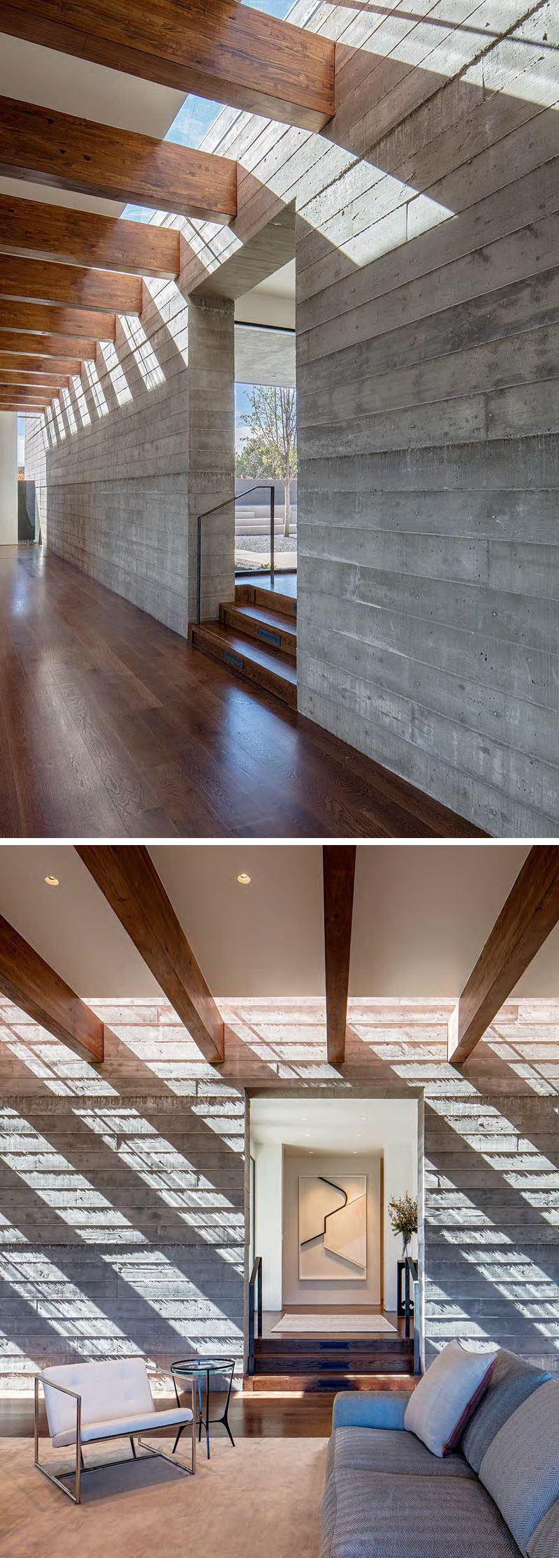 In this modern house, sunlight shines through a narrow skylight that runs the entire length of one of the walls (125ft), and casts shadows throughout the day.
