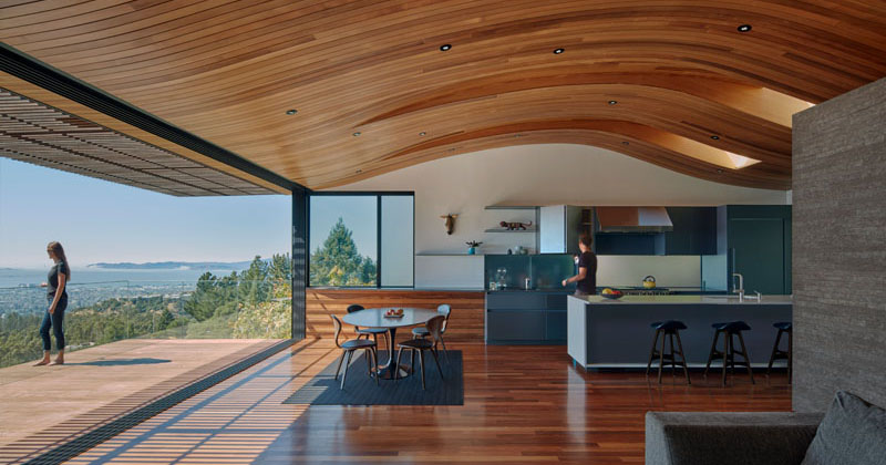 The Ceiling In This Modern House Echoes The Shape Of The Hillside It Sits On Contemporist