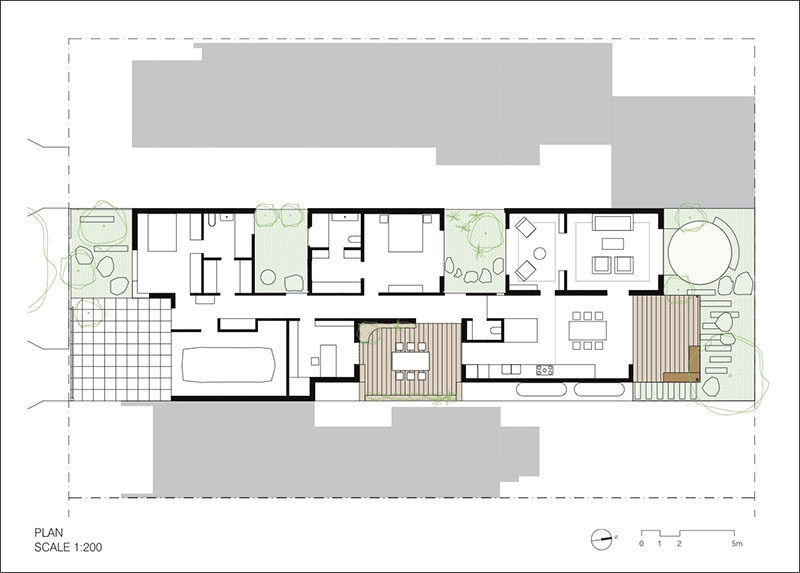 This floor plan shows the layout of a modern house that is broken up into 5 different pavilions.