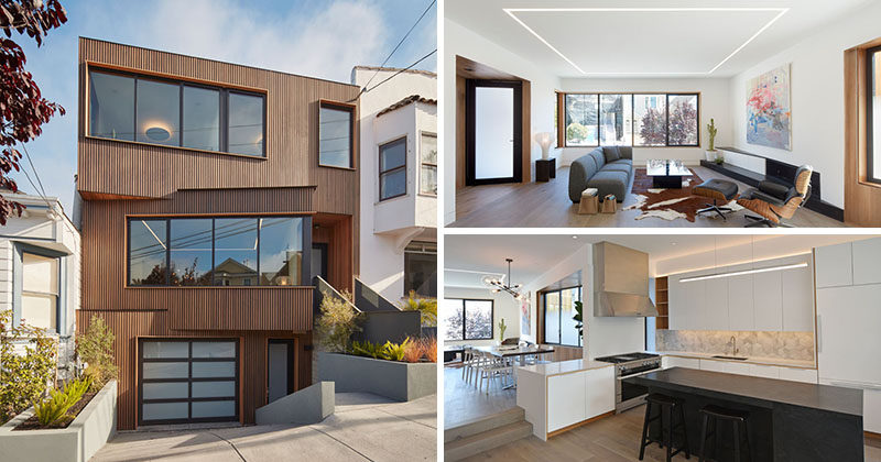 IwamotoScott Architecture have designed this new modern house on a steep street in the Noe Valley neighborhood of San Francisco.