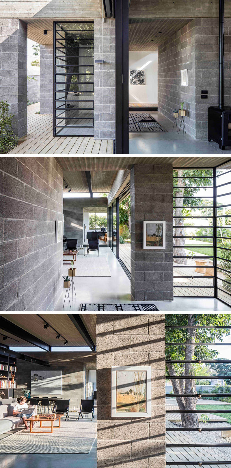 This modern house is made from concrete blocks and a concrete roof, that both work well with the black window frames.