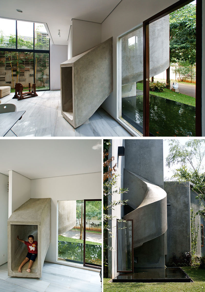 This concrete slide wraps around the outside of this modern house to add a unique look to the exterior of the home, but also creates a tunnel-like atmosphere while you slide from one floor down to the next.