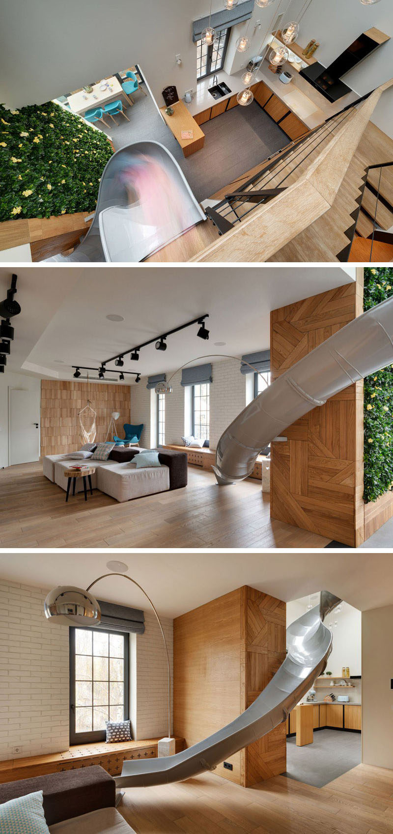 The metal slide in this modern apartment takes you down from the top floor right into the living room, and passes through the kitchen on the way there.